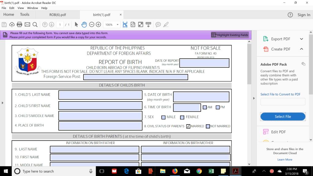 Report of Birth (ROB)
