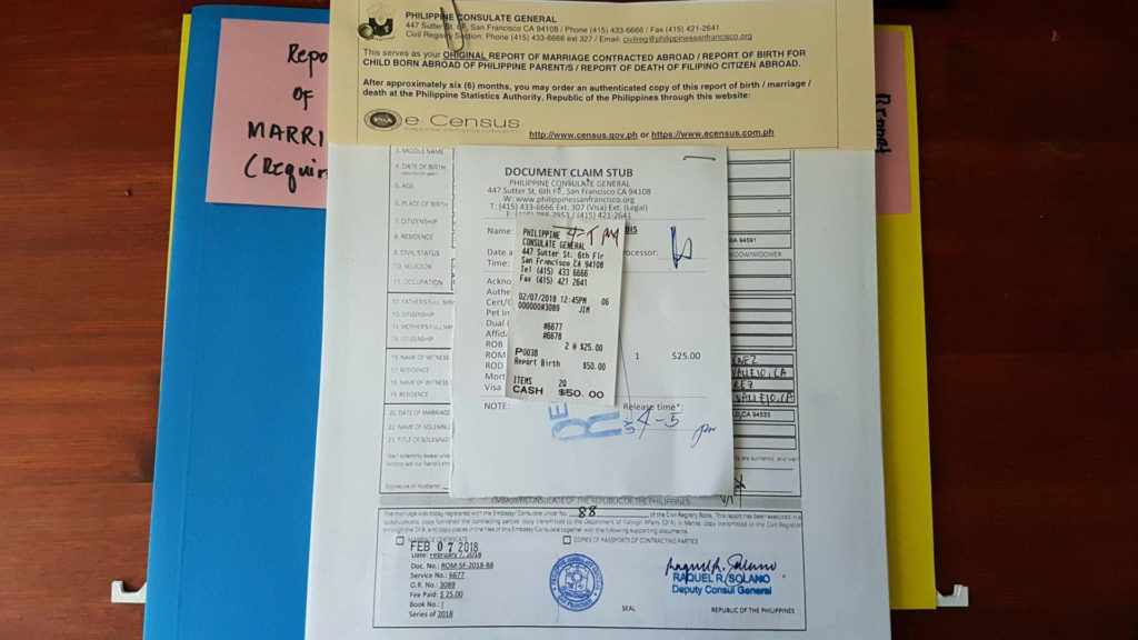 Report of marriage| Legal Document|Philippine Embassy